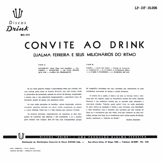 Djalma Ferreira & Seus Milionários do Ritmo, Luís Bandeira — Convite ao Drink (b)