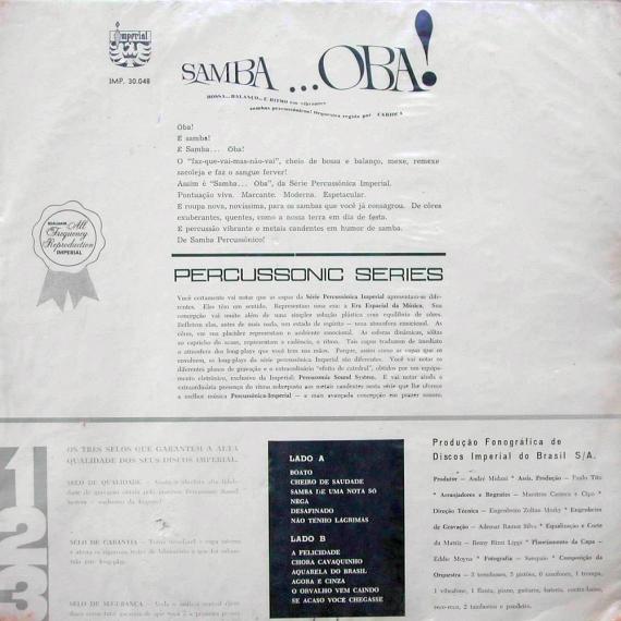 Carioca - Samba... Ôba (1964, Imperial IMP 30.048) b