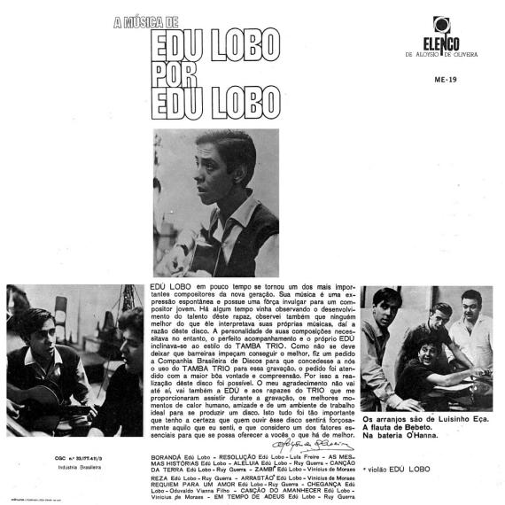 Edú Lobo - A Música de Edu Lobo por Edu Lobo (1965, Elenco ME-19) b