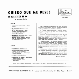 João Leal Brito 'Britinho' - Quiero Que Me Beses (1961) b